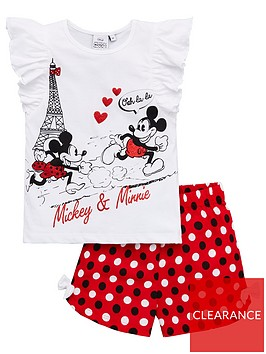 minnie-mouse-girls-mickey-mouse-amp-minnie-mouse-paris-frill-shorty-pyjamas-white