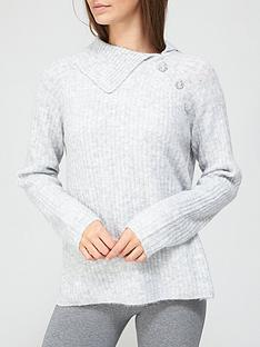 v-by-very-fold-over-pearl-detail-neck-jumper-grey-marl