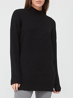 v-by-very-turtle-neck-cable-side-detail-tunic-black