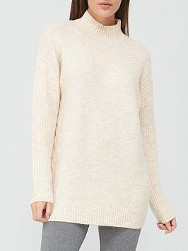 V By Very Turtle Neck Cable Side Detail Tunic - Stone, Stone, Size 14, Women