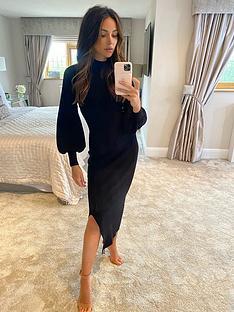 michelle-keegan-compact-knit-midi-dress-black
