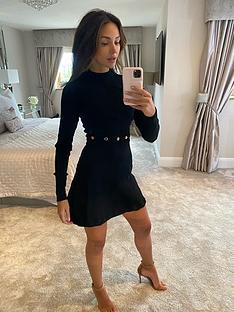 michelle-keegan-button-detail-compact-knit-skater-dress-black