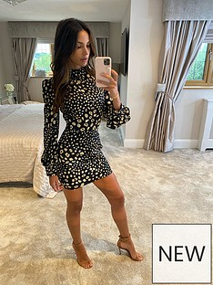 michelle-keegan-high-neck-printed-mini-dress-animal-print