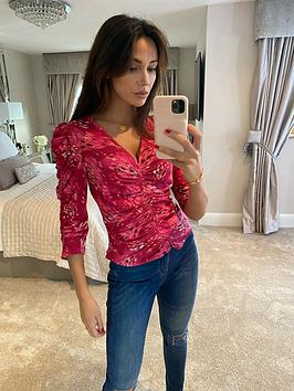 michelle-keegan-high-neck-printed-blouse-pink-print