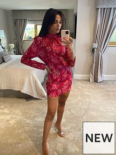 michelle-keegan-high-neck-printed-midi-dress