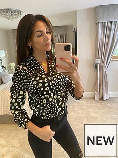 michelle-keegan-tie-waist-blouse-animal-print