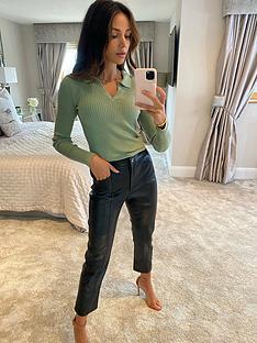 michelle-keegan-open-collar-knitted-top-green