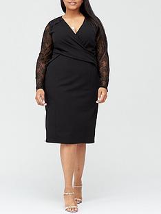 v-by-very-curve-lace-sleeve-stretch-pencil-dress-black