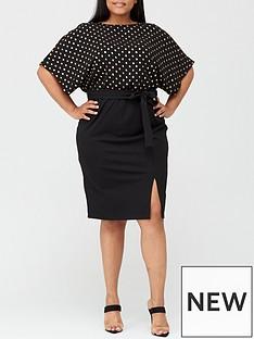 v-by-very-curve-foil-print-kimono-pencil-dress-black