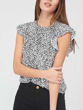 v-by-very-printed-round-neck-short-sleeve-shell-top-blackwhitenbsp