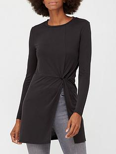 v-by-very-soft-touch-twist-detail-tunic-black