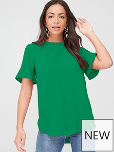v-by-very-ruffle-sleeve-shell-top-green