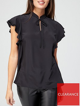 v-by-very-tie-necknbspfrill-sleeve-blouse-black