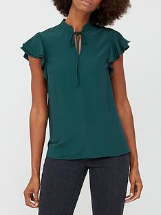 v-by-very-poet-frill-sleeve-blouse-green