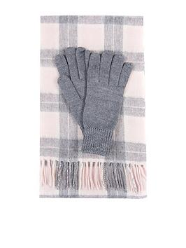 barbour-wool-tartan-scarf-amp-glove-set-pink