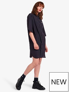 fred-perry-satin-oversized-shirt-dress