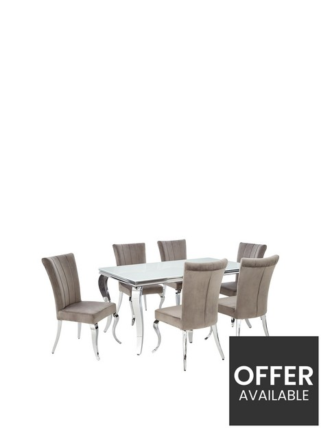 grace-160-cmnbsprectangle-dining-tablenbspnbsp6-chairs-whitechrome