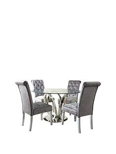 lola-120-cm-roundnbspdining-table-4-scroll-back-velvet-chairs