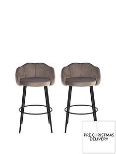 michelle-keegan-home-pair-of-angel-scallop-bar-stools-grey-velvet