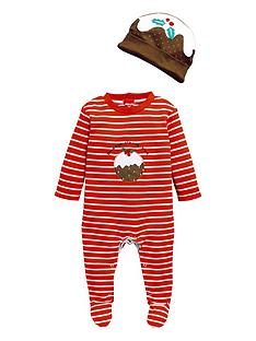 v-by-very-baby-unisex-christmas-pudding-sleepsuit-amp-hat-set-multi
