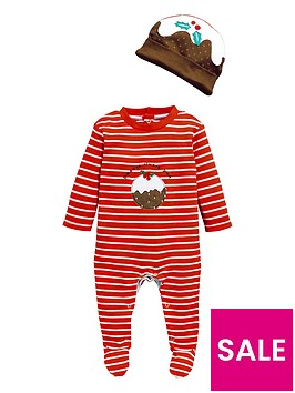 v-by-very-baby-unisex-christmas-pudding-sleepsuit-amp-hat-set-multi