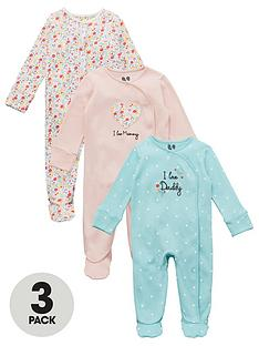 v-by-very-baby-girls-3-pack-mummy-daddy-and-floralnbspsleepsuits-multi
