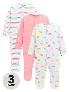 v-by-very-baby-girls-3-pack-dinosaur-and-stripe-sleepsuits-multi