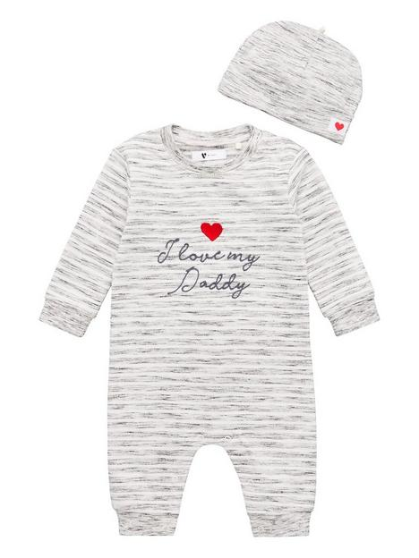 v-by-very-unisexnbspi-love-daddy-romper-and-hat-grey