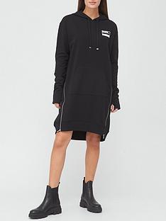 hugo-nellini-hooded-sweat-dress-black
