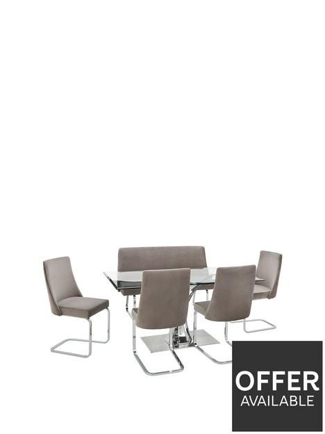 alice-rectangle-1-bench-4-velvet-chairs-dining-set