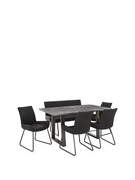 Bronx 160 Cm Concrete Effect Dining Table With 1 Bench + 4 Chairs