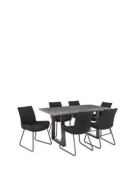 Bronx 160 Cm Concrete Effect Dining Table + 6 Chairs