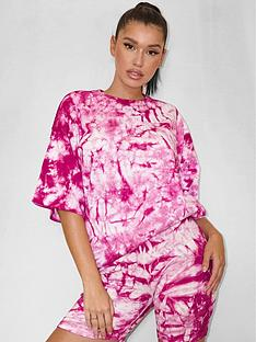 missguided-missguidednbsptie-dyenbspco-ord-t-shirt-amp-cycling-short-set-berry