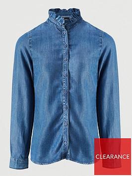 v-by-very-ruffle-neck-long-sleeve-soft-denim-shirt-mid-washnbsp