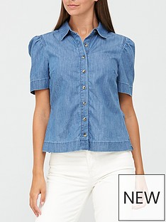 v-by-very-shortnbsppuff-sleeve-denim-shirt-blue