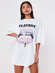 missguided-missguided-playboy-lips-front-t-shirt-dress