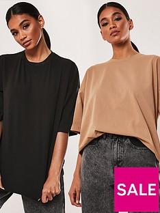 missguided-missguided-2-pack-drop-shoulder-oversized-t-shirt-blackcamel