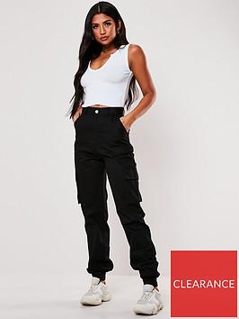 missguided-plain-cargo-trouser-black