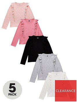 v-by-very-girlsnbspruffle-long-sleeve-t-shirts-5-pack-multi