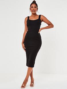 missguided-scoop-neck-cami-ribbed-midi-dress-black