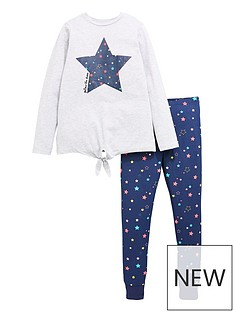 v-by-very-girls-star-print-tie-front-pj-set-navygrey