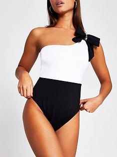 river-island-sculpted-bow-detail-one-shoulder-swimsuit-black