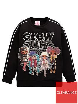 lol-surprise-girls-omg-glow-up-sweatshirt-with-side-splits-black