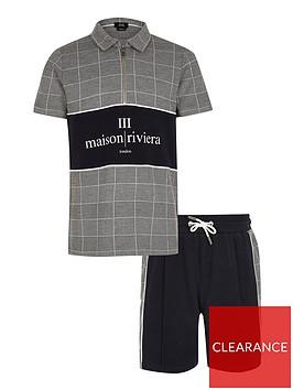 river-island-boys-2-piecenbspmaison-riviera-polo-shirtnbspand-shorts-set--nbspgreynavy