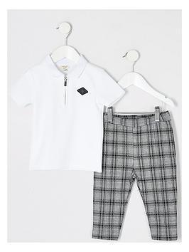 river-island-mini-boys-polo-and-trouser-set--nbspwhitegrey
