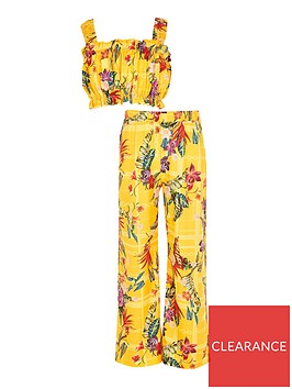river-island-girls-2-piece-floral-trouser-and-crop-topnbspset--nbspyellow