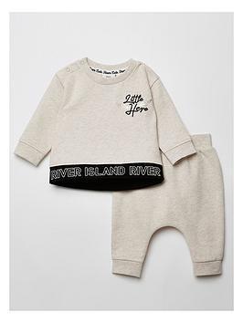 river-island-baby-little-hero-sweatshirt-and-jog-pants-setnbsp--cream