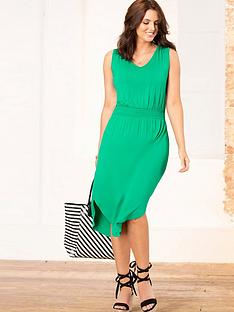 pour-moi-shirred-waist-midi-jersey-dress-emerald