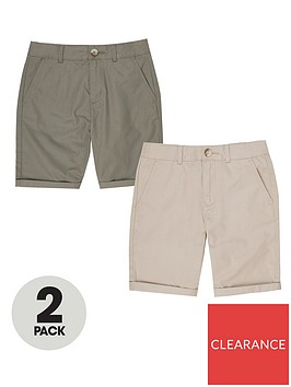 river-island-boys-2-pack-chino-shortsnbsp-nbspstonekhaki