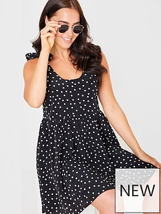 in-the-style-in-the-style-xnbspjac-jossanbsppolka-dot-tie-shoulder-trapeze-dress-black